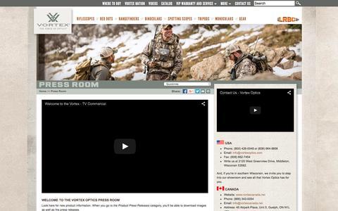 Screenshot of Press Page vortexoptics.com - Vortex Optics - Press Room - captured Oct. 1, 2015