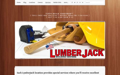 Screenshot of Services Page lumber-jack.com - Welcome to services at LumberJack Building Centers - Lumber Jack Building Centers - captured Feb. 1, 2016