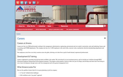 Screenshot of Jobs Page amanapipelines.com - Careers - Amana Pipeline Construction - captured Oct. 4, 2014