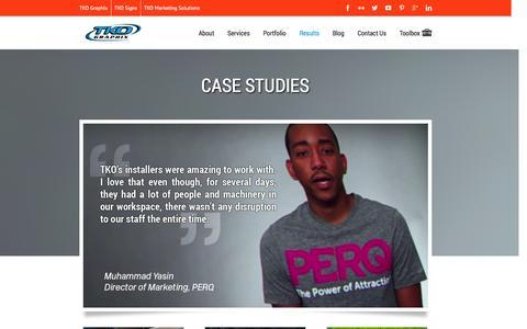 Screenshot of Case Studies Page tkographix.com - TKO Graphix Case Studies - captured Oct. 6, 2014