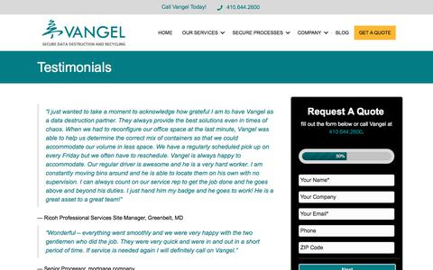 Screenshot of Testimonials Page vangelinc.com - Testimonials from Happy Clients of Vangel, Inc. of Baltimore - captured Nov. 6, 2017