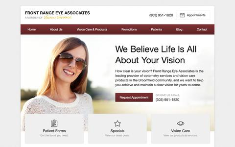 Screenshot of Home Page visionsource-frea.com - Optometrist, Eye Doctor in Broomfield CO | Front Range Eye Associates - captured Oct. 11, 2018