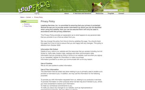 Screenshot of Privacy Page ribbit.net - Leapfrog Extraordinary IT Services > Contact > Privacy Policy - captured Oct. 27, 2014