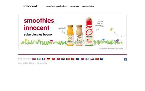 Screenshot of Home Page innocentdrinks.es - innocent – 100% pure fruit smoothies, orange juice, kids smoothies and tasty veg pots - captured March 6, 2016