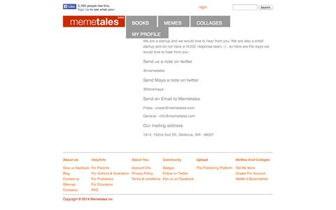 Screenshot of Contact Page memetales.com - Memetales - Contact - captured Sept. 16, 2014