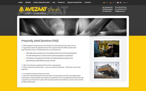 Screenshot of FAQ Page avezaat.com - Frequently Asked Questions (FAQ) - Avezaat Cranes - captured Oct. 4, 2014
