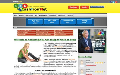 Screenshot of Home Page cashfromnet.in - Online part time job, daily payment - Cashfromnet.in - captured Sept. 19, 2014