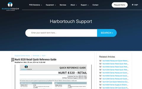 Screenshot of Support Page harbortouch.com - Nurit 8320 Retail Quick Reference Guide : Harbortouch Support Center - captured Oct. 9, 2018