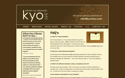 Screenshot of FAQ Page kyovba.com - Kyo, Virtual Assitance - FAQ - captured Oct. 27, 2014
