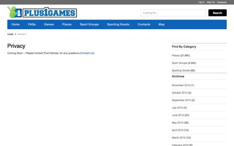 Screenshot of Privacy Page plus1games.com - Privacy - Plus1Games - captured July 14, 2016