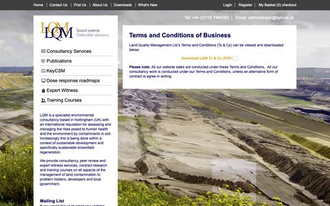 Screenshot of Terms Page lqm.co.uk - Terms and Conditions of Business - Land Quality Management Ltd - captured Sept. 26, 2018