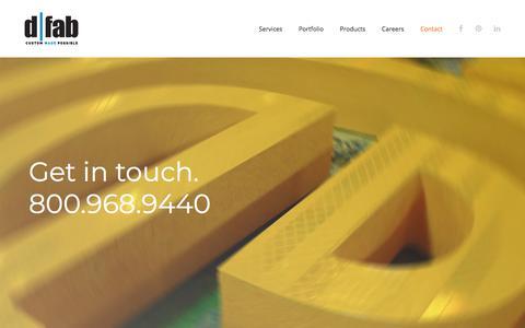 Screenshot of Contact Page dfabdesign.com - Contact Us - d|fab - captured July 5, 2018
