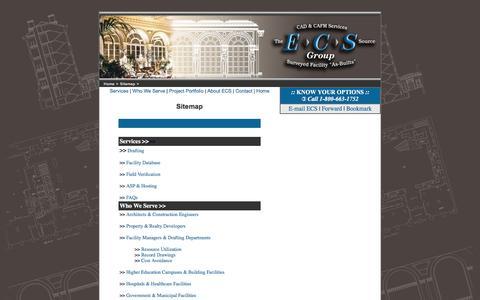 Screenshot of Site Map Page ecs-cadcafm.com - Sitemap for Existing Conditions Surveys, Building Surveys, As-Built Floorplans by ECS CAD & CAFM Services - captured Jan. 22, 2016