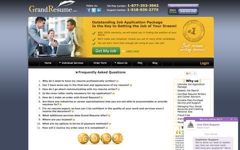 Screenshot of FAQ Page grandresume.com - FAQ   Professional Resume Writing Service - captured Nov. 13, 2016
