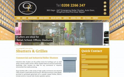 Screenshot of Services Page quayfacilities.co.uk - Industrial Roller Shutters, Aluminium Security Doors, Windows & Retail Shop Fire Shutters London - captured Dec. 13, 2015