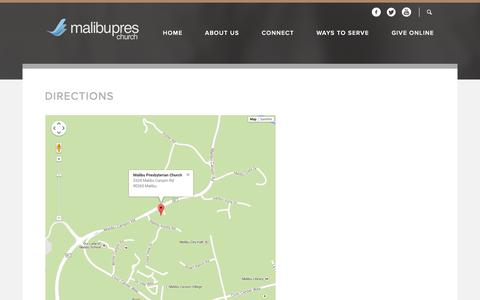 Screenshot of Maps & Directions Page malibupres.org - Malibu Presbyterian Church: Malibu, CA  Directions - captured Feb. 4, 2016