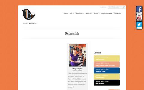 Screenshot of Testimonials Page busybird.com.au - Testimonials - Busybird Publishing - captured Nov. 23, 2016