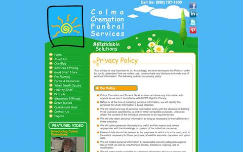 Screenshot of Privacy Page colmacremation.com - Colma Cremation - Healthy Grief - captured Oct. 2, 2014