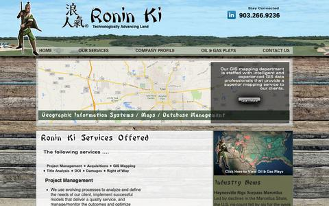 Screenshot of Services Page roninki.com - Ronin Ki LLC Services - Project Management - Acquisitions - GIS Mapping - Title - Curative - Division of Interest - captured Oct. 20, 2018