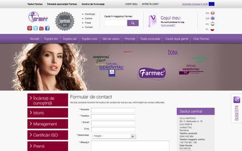 Screenshot of Contact Page farmec.ro - Formular de contact - captured Sept. 24, 2014