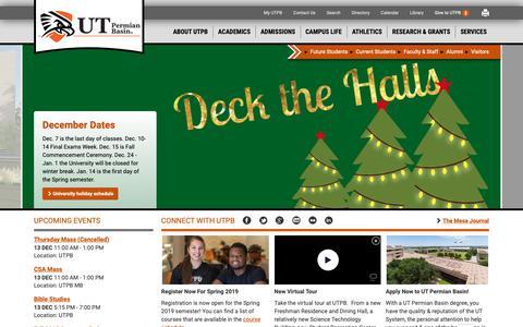 Screenshot of Home Page utpb.edu - UTPB    UTPB Home - captured Dec. 12, 2018