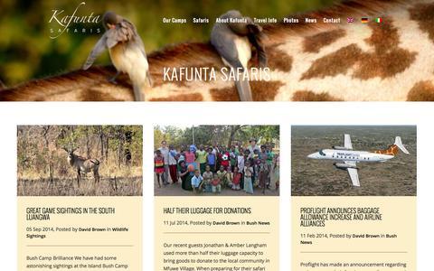 Screenshot of Press Page luangwa.com - Safari News About Zambia & South Luangwa | Kafunta Safaris - captured Oct. 6, 2014