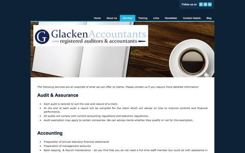 Screenshot of Services Page glackenaccountants.com - Services - Glacken Accountants - captured Sept. 30, 2014