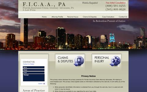 Screenshot of Privacy Page ficaalaw.com - Privacy Policy | Florida Lawyer - captured Oct. 6, 2014