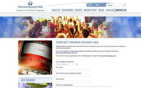 Screenshot of Contact Page pernod-ricard-usa.com - Contact us - captured Dec. 8, 2015