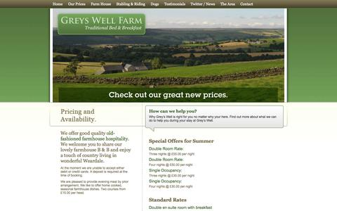 Screenshot of Pricing Page greyswellfarm.com - Greys Well Farm - Bed and Breakfast - Pricing & Availability - captured Oct. 3, 2014