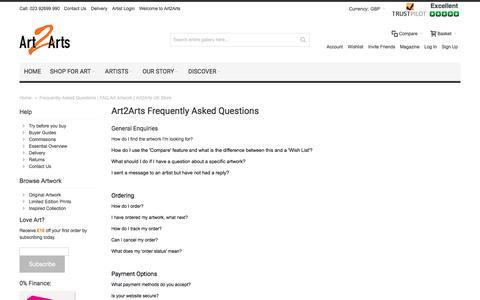 Screenshot of FAQ Page art2arts.co.uk - Frequently Asked Questions FAQ | Art Artwork Gallery | Art2Arts - captured April 30, 2017