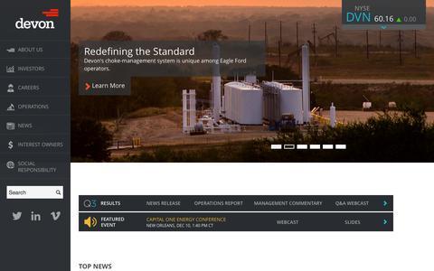 Screenshot of Home Page devonenergy.com - Devon Energy - captured Jan. 26, 2015