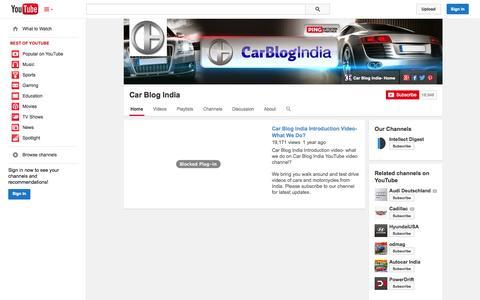 Screenshot of YouTube Page youtube.com - Car Blog India  - YouTube - captured Oct. 30, 2014