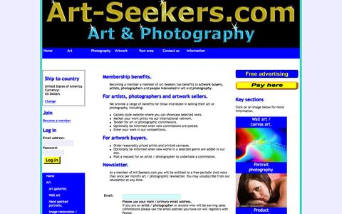 Screenshot of Signup Page art-seekers.com - Join Art-Seekers.com - captured Feb. 6, 2016