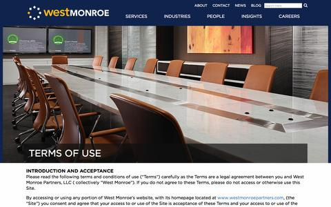 Screenshot of Terms Page westmonroepartners.com - Terms of Use | West Monroe Partners - captured Feb. 3, 2016