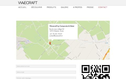 Screenshot of Contact Page wavecraft.ch - Contact - captured Oct. 27, 2014
