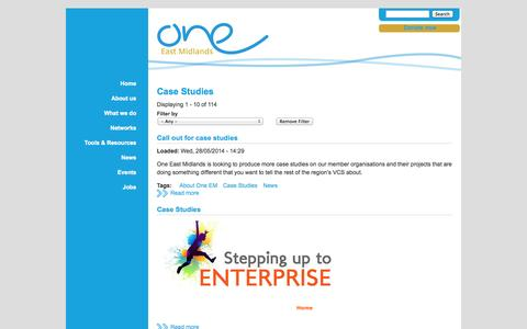 Screenshot of Case Studies Page oneeastmidlands.org.uk - Case Studies | One East Midlands - captured Oct. 7, 2014