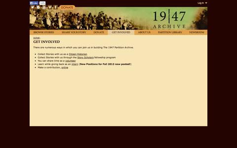 Screenshot of Signup Page 1947partitionarchive.org - Get Involved | www.1947partitionarchive.org - captured Oct. 6, 2014