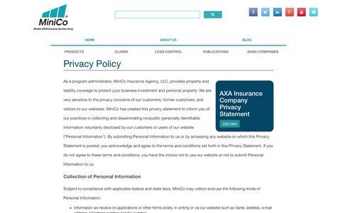 Screenshot of Privacy Page minico.com - Privacy Statement | MiniCo Insurance Agency, LLC. - captured Feb. 13, 2016
