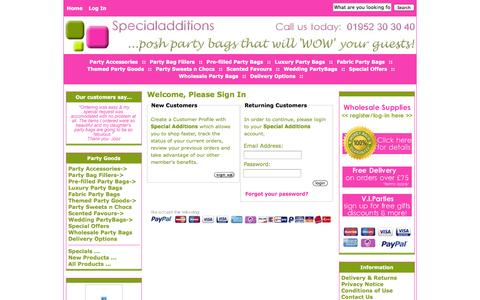 Screenshot of Login Page specialadditions.co.uk - Login : Luxury Party Bags   Pre-filled Kids Partybags, Shropshire, West Midlands - captured Oct. 29, 2014