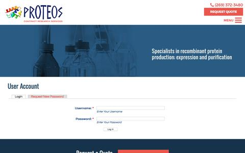 Screenshot of Login Page proteos.com - User Account | Proteos, Inc. - captured April 11, 2017