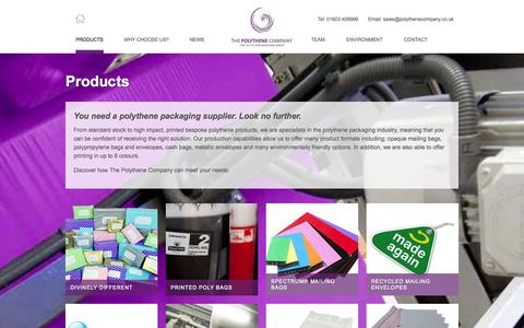 Screenshot of Products Page polythenecompany.co.uk - The Polythene Company - Full range of polythene mailing bags and products » The Polythene Company - captured Oct. 9, 2014