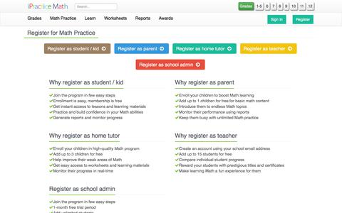 Screenshot of Signup Page ipracticemath.com - Register Free - iPracticemath - captured Sept. 20, 2018