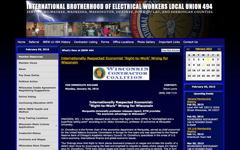 Screenshot of Home Page ibew494.com - IBEW LOCAL UNION 494 - captured Feb. 6, 2015