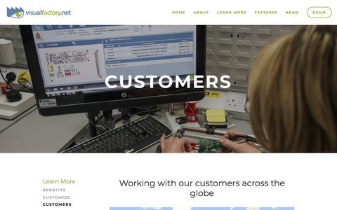 Screenshot of Case Studies Page visualfactory.net - Customers — VisualFactory.net - captured March 9, 2018