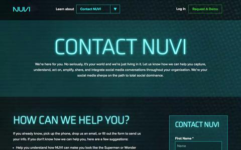 Screenshot of Contact Page nuvi.com - Contact NUVI - captured Sept. 24, 2014