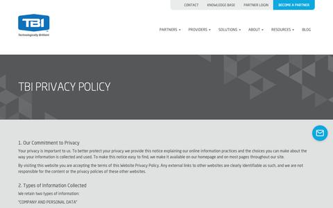 Screenshot of Privacy Page tbicom.com - TBI PRIVACY POLICY - TBI - captured Nov. 7, 2018