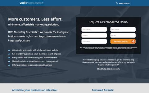 Screenshot of Landing Page yodle.com - Internet Marketing Essentials | Yodle - captured Feb. 23, 2016