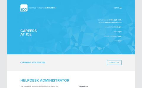 Screenshot of Jobs Page ice-clean.com - Careers | Industrial Cleaning Equipment Ltd. - captured Nov. 26, 2016