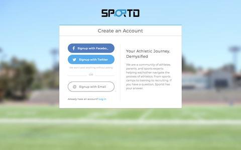 Screenshot of Signup Page sportd.com - Create an Account - Sportd - captured Dec. 21, 2016